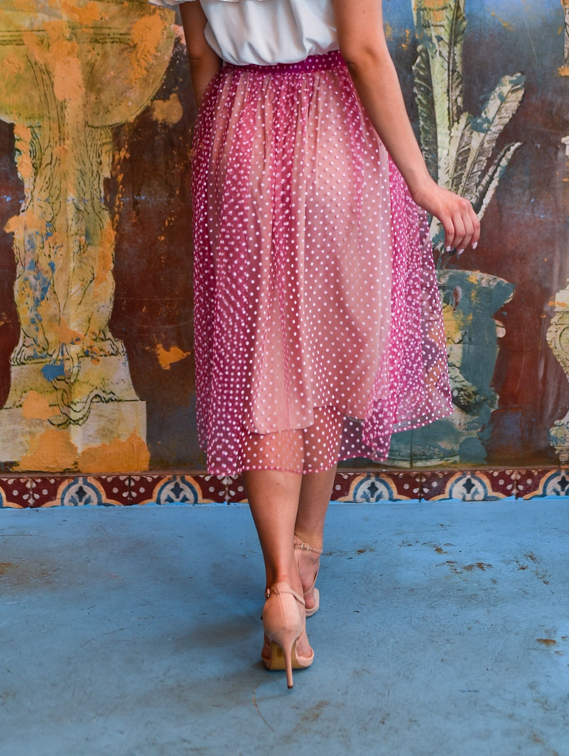 Gloria Pink Midi Skirt Damodastories Collection