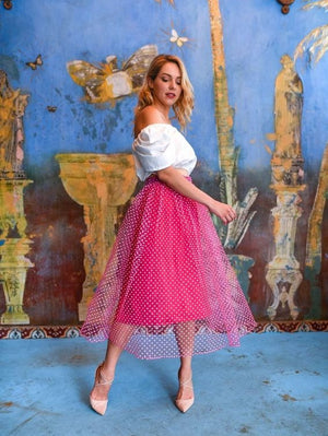 Gloria Fuchsia Midi Skirt Damodastories Collection