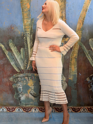 Milk White Midi Dress NIMA Liminal Knitting