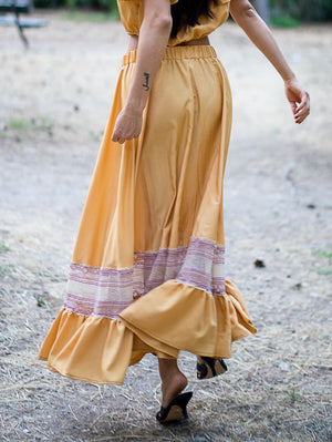 Eva Ochre Honey Maxi Skirt Damodastories Collection