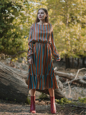 Alice Colorful Striped Midi Dress Damodastories Collection