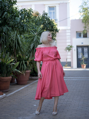 Belle Coral Midi Dress Damodastories Collection