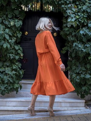 Alice Vivid Orange Midi Dress Damodastories Collection