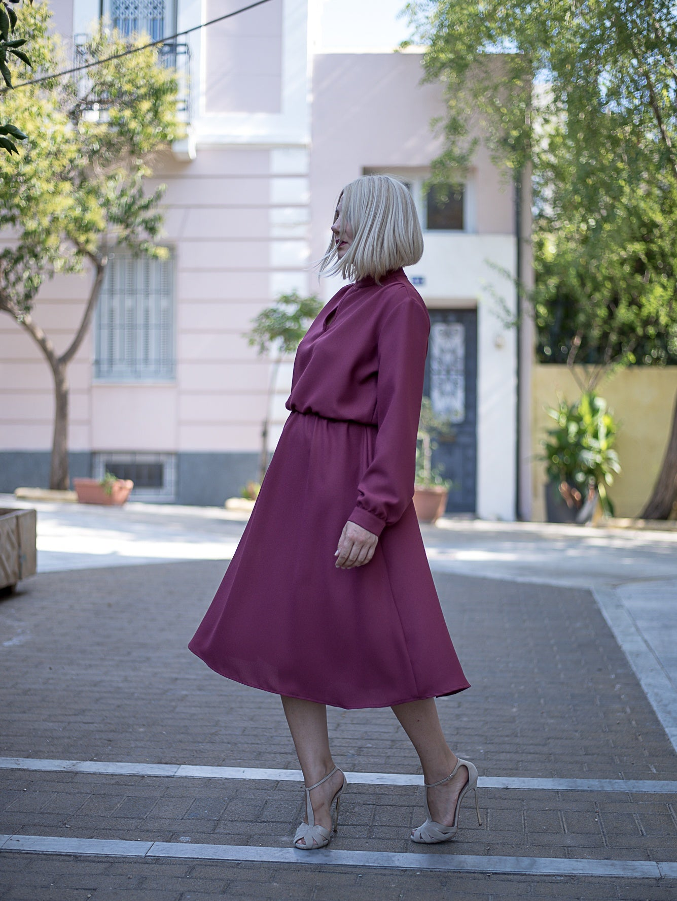 Diana Burgundy Midi Dress Damodastories Collection
