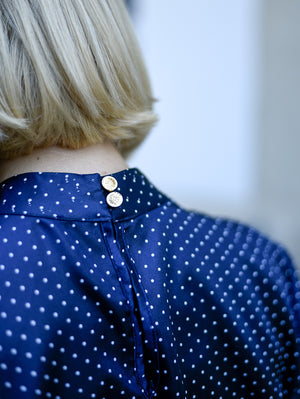 Diana Polka Dot Blue Midi Dress Damodastories Collection