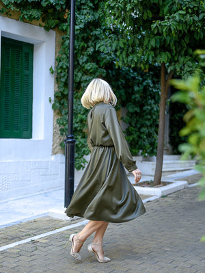 Diana Olive Midi Dress Damodastories Collection