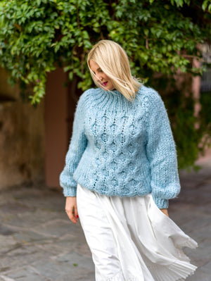 Baby Blue Knitted Sweater BLOEUR