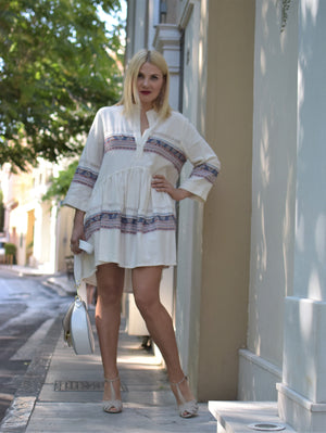 Beige light Caftan Mini Dress