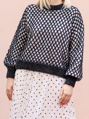 Sweater Black Knitted Lurex