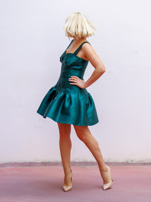 Emerald Puff Mini Dress GIZIA