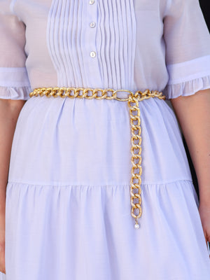 Gold Ρelief Aluminium Chain Belt