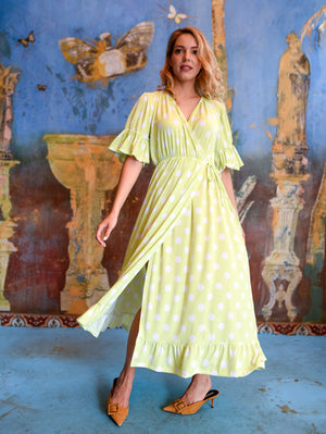 Sandra Lime Maxi Wrap Dress Damodastories Collection