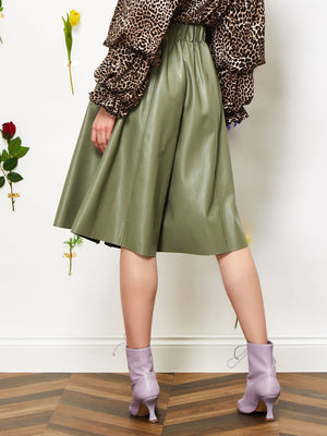 Greenery Faux Leather Culottes Sister Jane