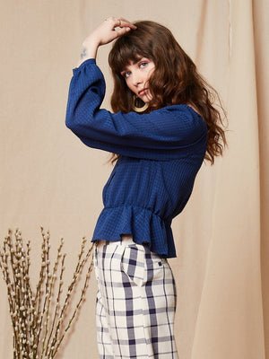 Blue Plain Square Neck Blouse Ghospell