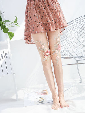Nude Net Embroidery 4D Flowers Legwear