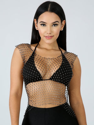 Sparklin Diamond Net Bodycon Top