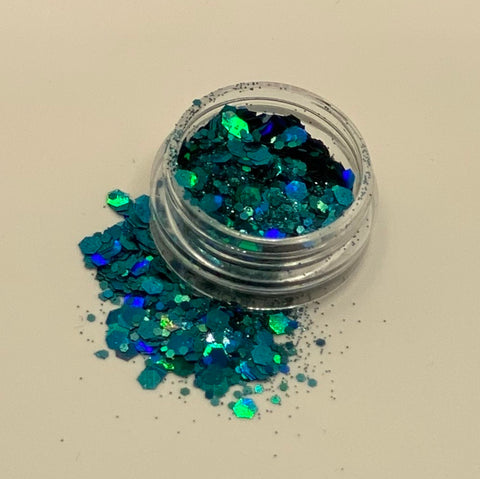 'AQUA' - CHUNKY HOLOGRAPHIC FACE, BODY & ART GLITTER