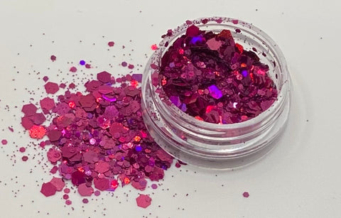'BARBIE PINK' - CHUNKY HOLOGRAPHIC FACE BODY & ART GLITTER