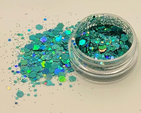 'TURQUOISE' - CHUNKY HOLOGRAPHIC FACE, BODY & ART GLITTER