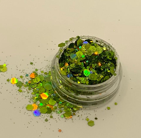 'LIME GREEN' - CHUNKY HOLOGRAPHIC FACE, BODY & ART GLITTER