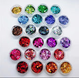 24 chunky holographic glitter pots
