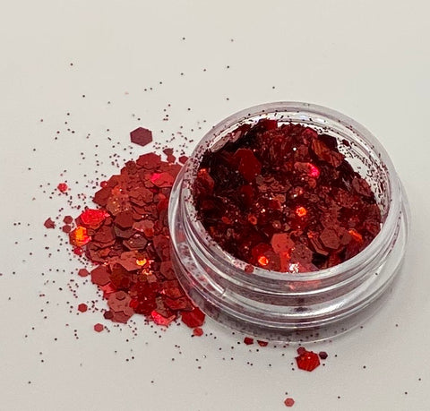 'RED' - CHUNKY HOLOGRAPHIC FACE, BODY & ART GLITTER