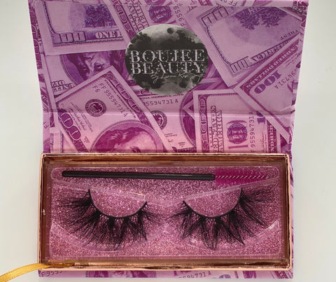 'RICH BIT*H'- 5D (16- 24MM) MINK EYELASHES (Money Bag Collection)