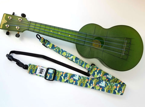 Ukulele Strap ALL in ONE Hug - Cactus and Birds