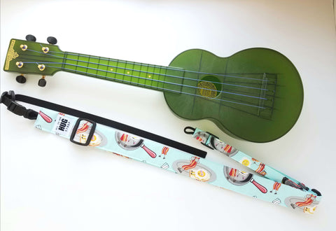 Ukulele Strap ALL in ONE Hug - Bacon and Eggs