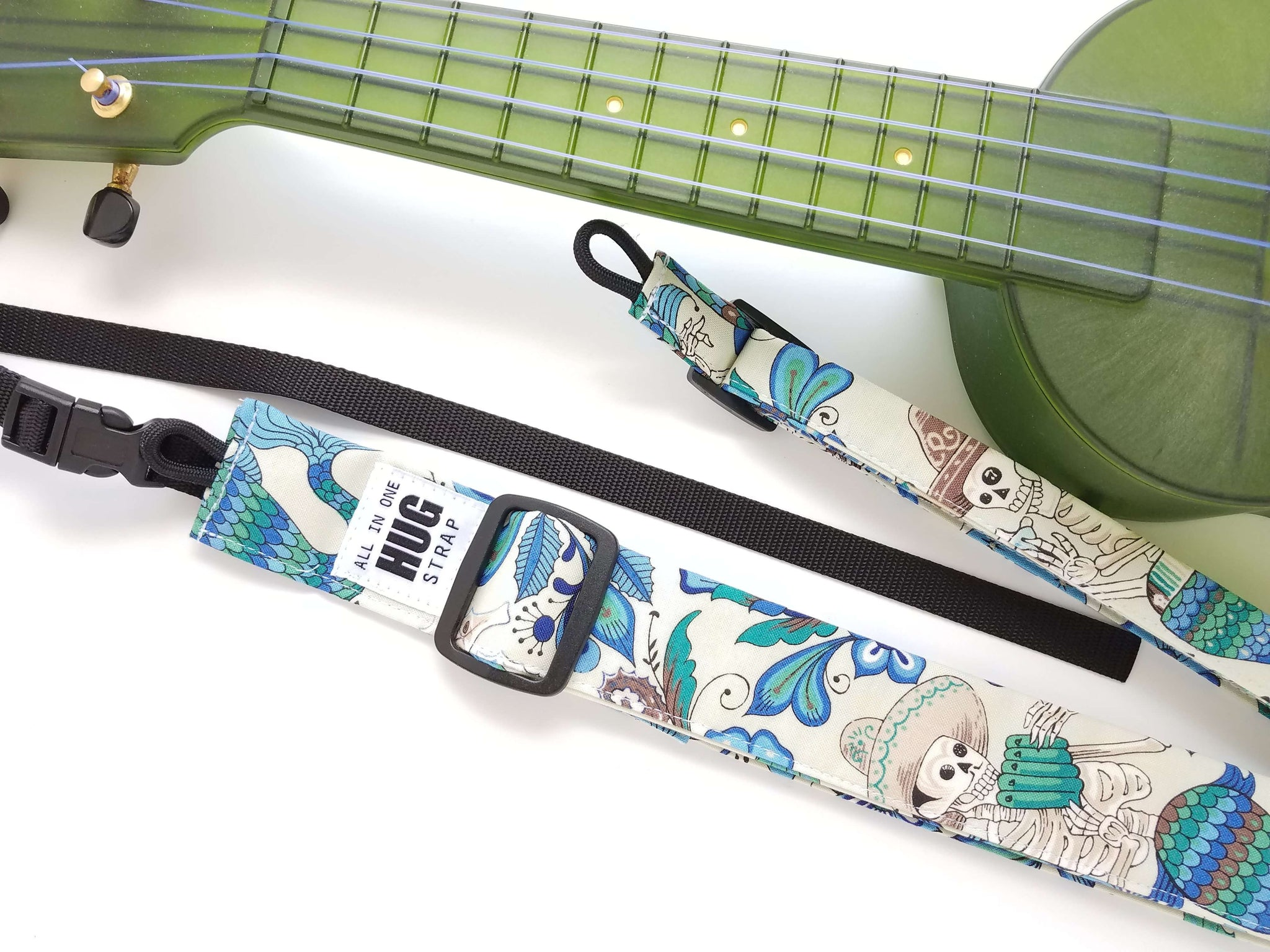 Ukulele Strap ALL in ONE Hug Strap - Skeletons of the Sea
