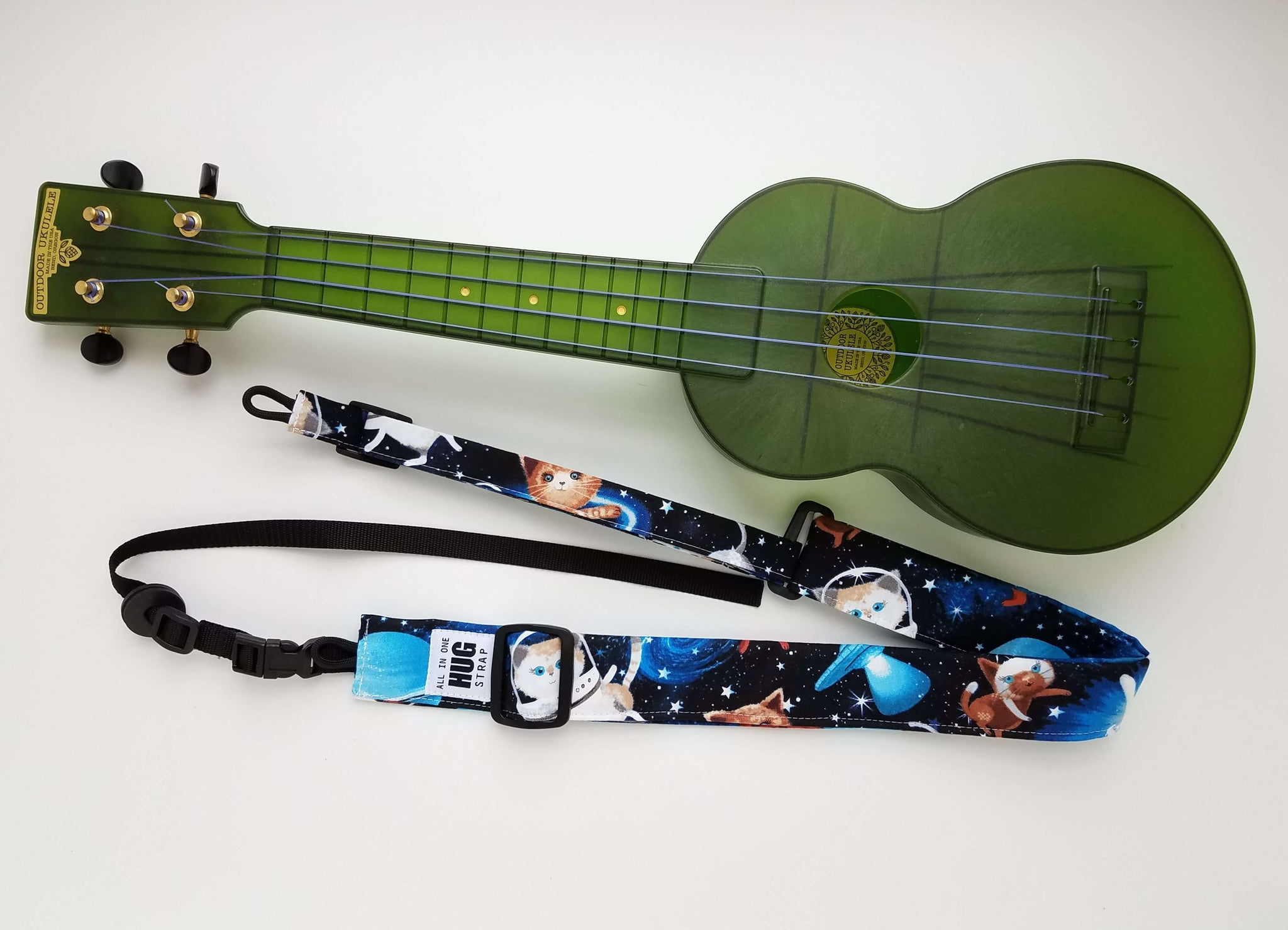 Ukulele Strap ALL in ONE Hug Strap - Cats in Space
