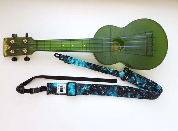 Ukulele Strap ALL in ONE Hug Strap - Stars on Turquoise and Black