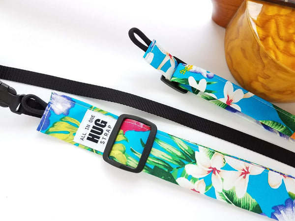 Ukulele Strap ALL in ONE Hug - Bird of Paradise Turquoise