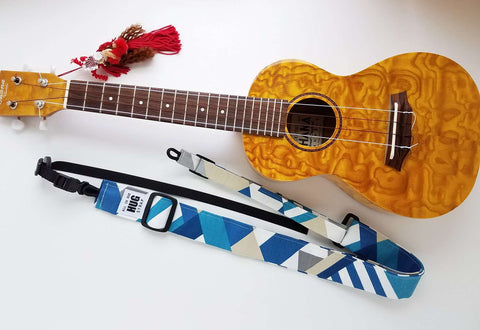 Ukulele Strap ALL in ONE Hug - Blue, Gray, and White Geometric