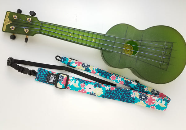 Ukulele Strap ALL in ONE Hug - Bright Floral on Blue