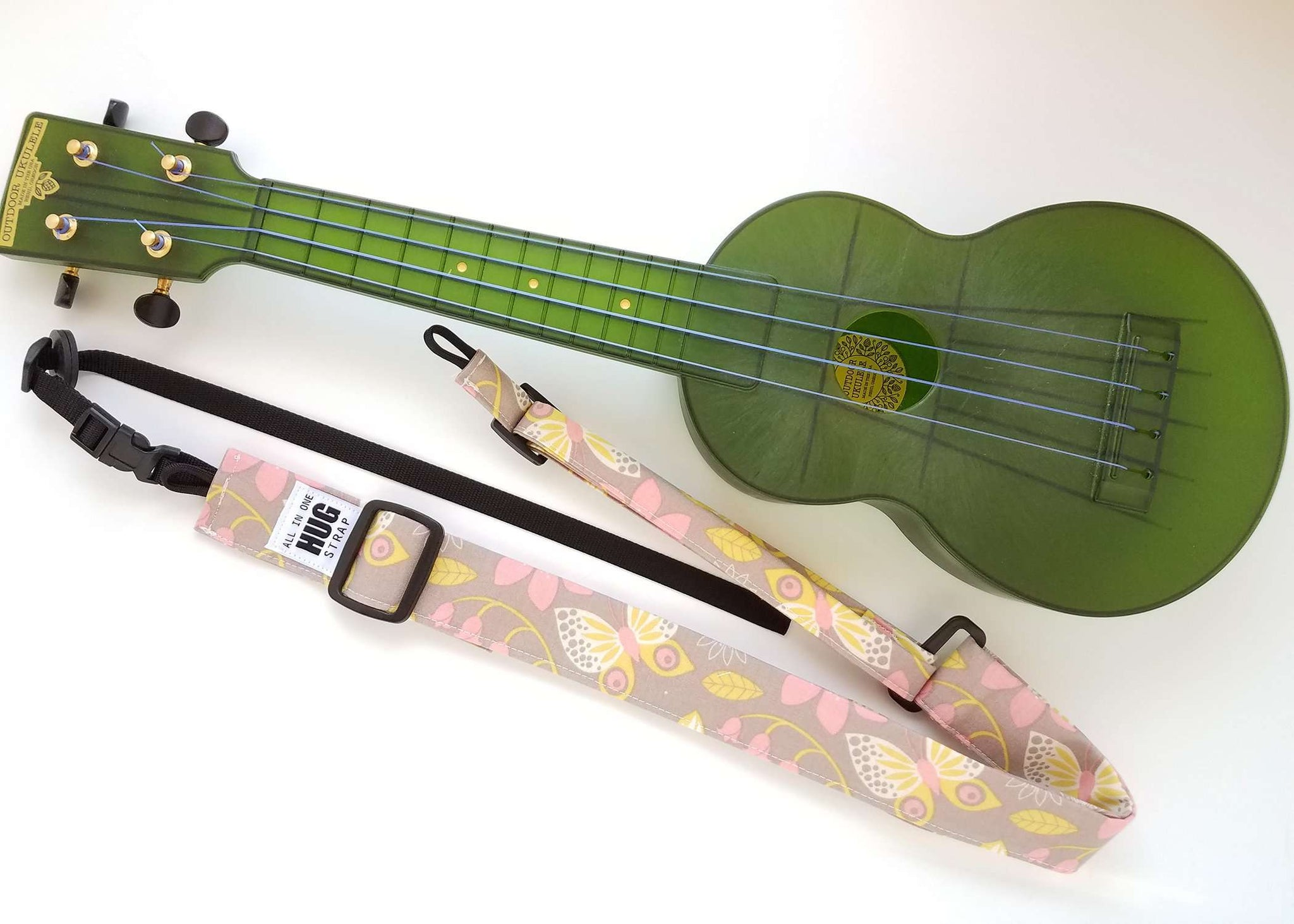 Ukulele Strap ALL in ONE Hug - Butterflies on Beige