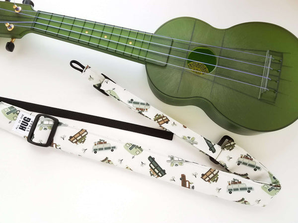 Ukulele Strap ALL in ONE Hug - Retro Camper Vans