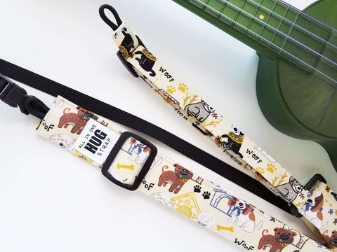 Ukulele Strap ALL in ONE Hug - Dogs and Doghouses
