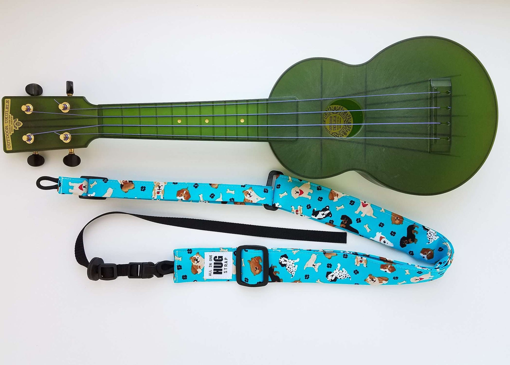 Ukulele Strap ALL in ONE Hug - Dogs on Turquoise
