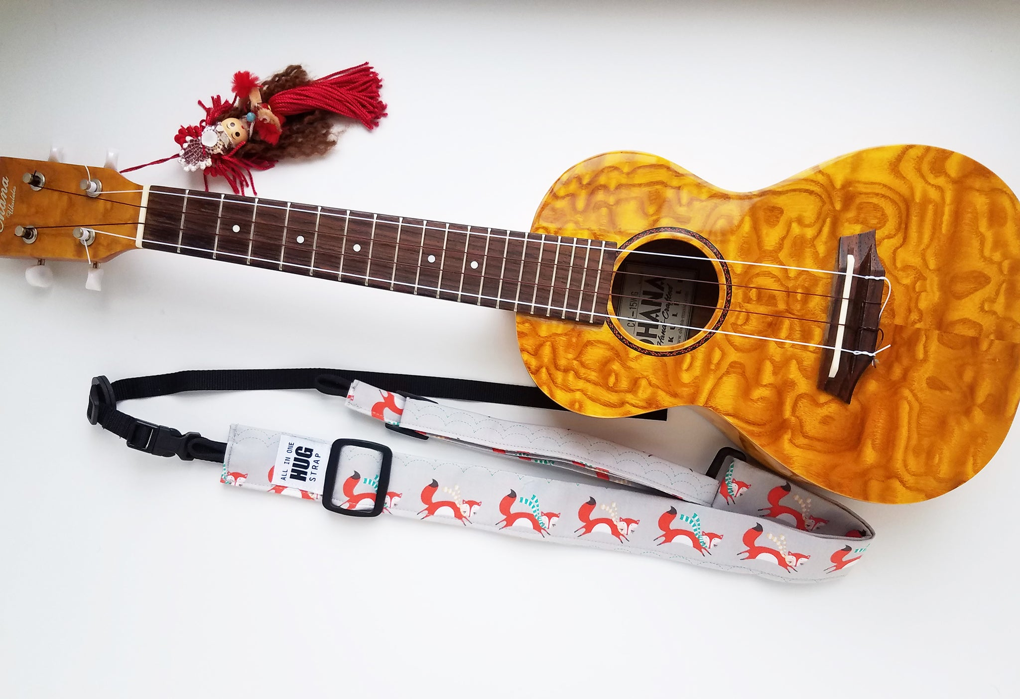 Ukulele Strap ALL in ONE Hug - Foxes in Scarves