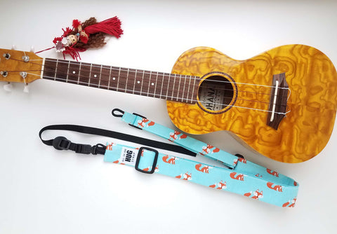 Ukulele Strap ALL in ONE Hug - Foxes on Aqua