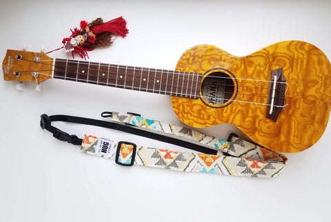 Ukulele Strap ALL in ONE Hug - Orange, Gray, and Blue Ikat