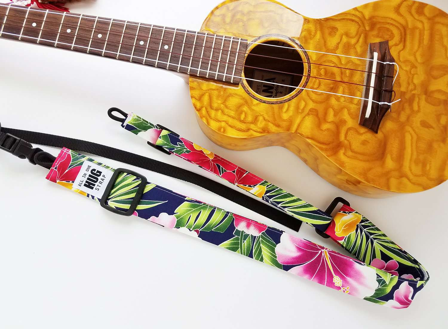 Ukulele Strap ALL in ONE Hug - Hibiscus and Ferns Navy
