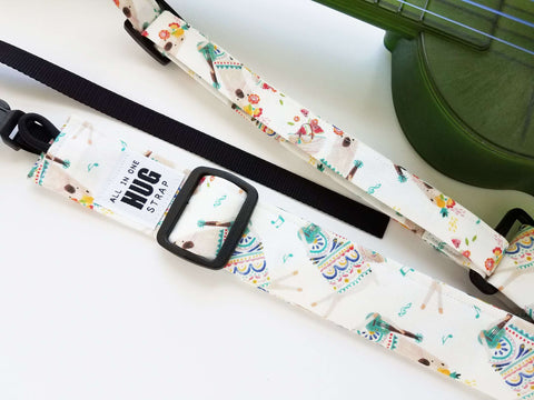 Ukulele Strap ALL in ONE Hug Strap - Llamas Playing Ukulele