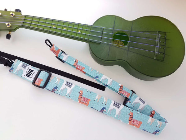 Ukulele Strap ALL in ONE Hug - Llamas