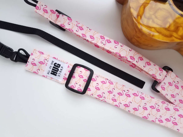 Ukulele Strap ALL in ONE Hug - Mini Flamingos