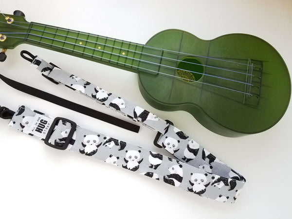 Ukulele Strap ALL in ONE Hug - Pandas on Gray