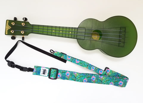Ukulele Strap ALL in ONE Hug Strap - Peacock Feathers
