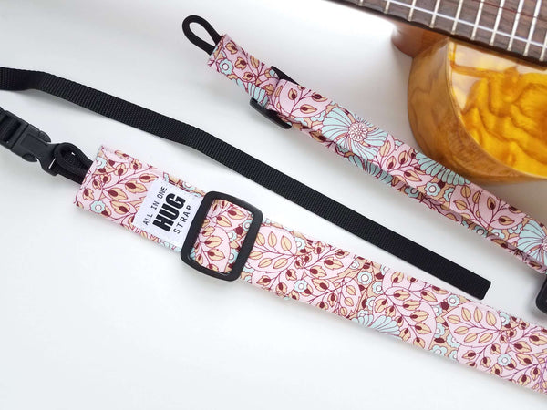 Ukulele Strap ALL in ONE Hug - Pink, Blue, Beige Flowers and Leaves
