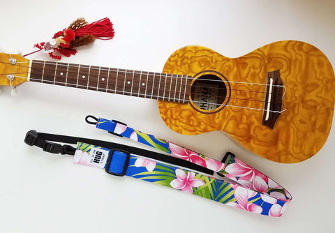 Ukulele Strap ALL in ONE Hug Strap - Pink Plumeria on Royal Blue